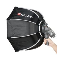 şemsiye flaşlı fotoğrafçılık toptan satış-Toptan 55 cm Sekizgen Şemsiye Softbox Godox On-Camare Flash speedlite fotoğraf stüdyosu aksesuarları Için kolu ile yumuşak kutu