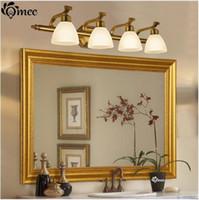 ingrosso interruttore luci da parete per bagno-Lampade da parete vintage in vetro paralume a LED, lampade classiche americane per lucernari da bagno Home Bronze da parete per interni