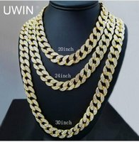 Wholesale Gold Chain Link Costume Necklace - Iced Out Bling Rhinestone Crystal Goldgen Finish Miami Cuban Link Chain Men's Hip hop Necklace Jewelry 20, 24, 30 ,36 Inch