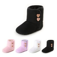 Wholesale Infant Boots For Boys - 2017 New Warm Prewalker Boots Toddler Girl Boy Crochet Knit Snow boots fur lovely infant first walker soft shoes for 0-1T