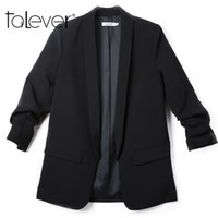 Wholesale Three Quarter Jacket Pleated - Women Blazers and Jackets Three Quarter Sleeve Office Ladies Workwear Business Suits Female Blazer Formal Coat Plus Size Talever
