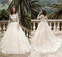 Wholesale turkey cover - Long Sleeve Full Lace Wedding Dresses Turkey Boat Neck A Line Country Western Sash Beads Wedding Dresses Bridal Gowns HY228
