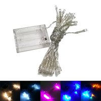 Wholesale Coloured Lamp - Led string Light battery powered 4M 40 Lights flash light Christmas party Fairy wedding lamps party decoration lighting 9 colours holiday