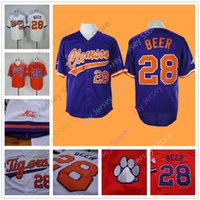 Wholesale beer jersey - Clemson baseball Jersey 28 Seth Beer Home Away White Purple Orange Stitched