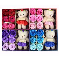 Wholesale cute valentines day gifts for sale - 2018 Romantic Rose Soap Flower With Little Cute Bear Doll Box Gift For Valentine Day Giftsfor Wedding Gift or birthday Gifts