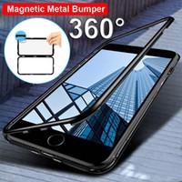 tapa trasera al por mayor-Funda magnética de flip de adsorción para iPhone X 8 Plus 7 6 6S Tapa trasera de vidrio templado Luxury Metal Bumpers para iPhone 7 8 Estuche rígido
