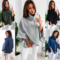 Wholesale wool capes cloaks for sale - 4 Colour S XL Women s Loose Batwing Wool Poncho Winter Warm Coat Jacket Cloak Cape Parka turtleneck sweater top Outwear