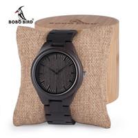 Wholesale custom logo watches for sale - BOBO BIRD Mens Black Ebony Wooden Watches Wood WristWatch Links Causal Quartz relogio masculino in Gift Box custom logo S914