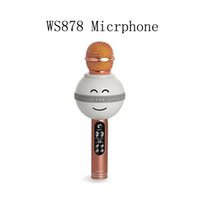 Wholesale pocket karaoke for sale - Group buy Fashion Smile style WS878 LED light Bluetooth Wireless Handheld Microphone Portable Pocket karaoke Microphone