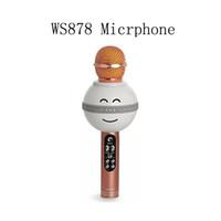 ingrosso microfono senza fili del calcolatore del bluetooth-Microfono tenuto in mano portatile di karaoke della tasca del microfono di Bluetooth della luce leggera di stile WS878 LED di sorriso di modo Trasporto libero