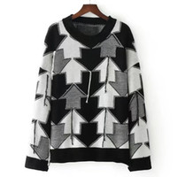 Wholesale United Arrows - 2017 autumn and winter Europe and the United States romantic black and white arrow all-match loose sweater dress wholesale
