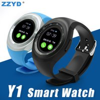 Wholesale y1 smart watch for sale - ZZYD Y1 Smart Bluetooth Watch Waterproof Sport Watch Built In SIM Card Slot Round Touch Screen Sleep Monitor Pedometer With Retail Package