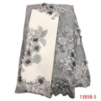 Wholesale alibaba express - 3D Fabric Embroidery Lace Applique Fabric Flowers DIY Sewing Nigerian Lace Fabrics Alibaba Express Retail QF1385B