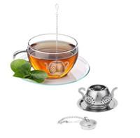 Wholesale teapot shape tea strainer - Stainless Steel Teapot Shape Tea Leaf Infuser Teapot Tray Spice Tea Strainer r Teaware Accessories tea infuser KKA5573