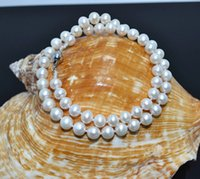 Wholesale long cultured pearl necklaces - 20 INCHES LONG. 6-11MM White Real Natural Cultured Pearl Necklace + Earring Set AAA