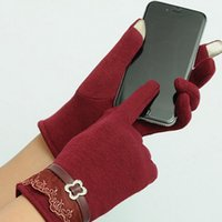 сексуальные розовые перчатки оптовых-Touch Screen Gloves Ladies Womens Winter Warm Mittens Use DevWhile Keeping Hands Cosyan Gifts For Girls