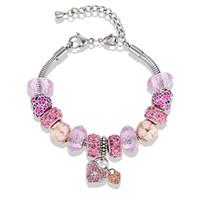 ingrosso fascino europeo di alta qualità-Bracciale ciondolo cuore ragazze di alta qualità serie rosa 925 placcato argento sterling europeo perline bracciali per le donne