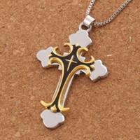 schwarze männer schmuck großhandel-Schwarze Goldfarbe Kruzifix Bibel Gebet Kreuz Anhänger Männer Halskette Kette 24inches N1785 Heißer Verkauf Schmuck