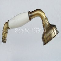 Wholesale Antique Style Telephones - Antique Brass Telephone Style Bathroom Porcelain Hand Held Water Saving Shower Head ahh007