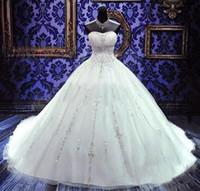 prenses hat kristal gelinlik toptan satış-2019 Bling Balo Gelinlik Ucuz Artı Boyutu A-Line Straplez Kristal Nakış Prenses Gelin Kıyafeti Custom Made
