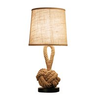Wholesale vintage black table lamp - Creative Rope LED Table Lamp with Vintage American Style Coffee Shop Study Decor Desk Lamp