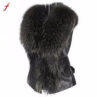 Wholesale Brown Fur Vest Women Sleeveless - Fur Collar fur Coat Vest Women Vest Sleeveless Coat Outerwear Long Hair Jacket Waistcoat