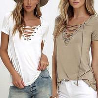 Wholesale Trendy Tee Shirts - 6 Colors Trendy T-Shirt V-neck Criss Cross Women T Shirt Summer Style Short Sleeve Tops Hollow Out Top femme top tee tshirt