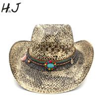 32c8f17a9b2 Women Men Straw Western Cowboy Hat Summer Handmade Weave Lady Sombrero  Hombre Cowgirl Caps Bohemian Tassel Ribbon Size 56-58CM