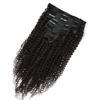 полное наращивание волос на голове оптовых-Бразильский кудрявый вьющиеся волосы клип в человеческих волос расширения Реми волос клип модули полная голова 8 шт./компл. Бесплатная доставка