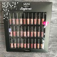 nyx lip lingerie al por mayor-NYX Lingerie Vault Barra de labios SOFT MATTE LIP Gloss 30PCS Set Sofe Velvet Lip Makeup Set de 30 colores Meet The Metallics Vault