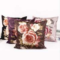 Wholesale Pink Roses Pillow Cases - Rose Flower Printing Pillow Case House Decorative Square 45x45cm Pillow Cover Home Textile Wedding Cushion Case