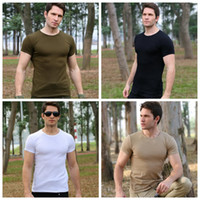 Wholesale training outdoor shirts online - Outdoor clothing men summer military uniform short sleeve special t shirt camping physical training clothing tactics running wear DDA556