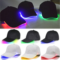 Wholesale lights up hops for sale - LED Lighted Up Baseball Cap Glow Club Baseball Hip Hop Golf Dance Hat Optical Fiber Luminous Ball Caps Adjustable DDA734 Party Hats
