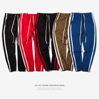 Wholesale Skinny Leg Joggers - Autumn Men's Sport Track Pants Side Striped Printed Pants Elastic Waist Casual Lover Jogger Legging Pants Clothing