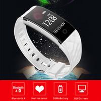спортивный смарт-браслет bluetooth оптовых-Bluetooth 4.0 S2 Smart Wristband IP67 водонепроницаемый Smart Watch Band S2 монитор сердечного ритма Sport record OLED Smartband Bluetooth браслет