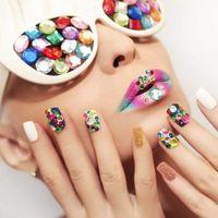 стикеры жемчуга ногтей оптовых-20x Wheel Nail Art Tips Pearl  Rhinestones 3D Nail Stickers