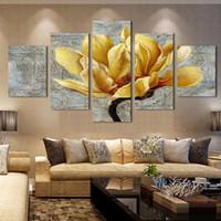 arte de la pared de flores amarillas al por mayor-Impreso HD Impreso Imágenes Cartel de la Lona Wall Art Pictures HD 5 Panel Amarillo Flor Para la Sala de estar Decoración Del Hogar Pintura