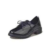 lindas botas de encaje al por mayor-shinny leather cute martin botas mujer zapatos de oficina planos con zapatos mujer pu botines de cuero con cordones botas