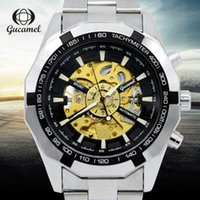 Wholesale Korean Wristwatches - Luxury Men Watch Hollow Out Korean Version Leather Strap Waterproof Wristwatch Business Stainless Steel Automatic Mechanical Mens Watch