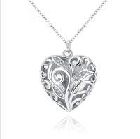 ingrosso filigrana d'ottone placcato argento-Collana pendente pendente a forma di cuore in argento placcato in ottone ciondolo gioielli scava fuori albero a catena con catena