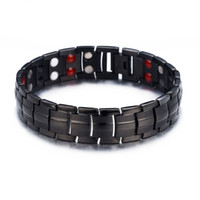 titanium magnetic therapy bracelet 2018 - Mens Elegant Titanium Magnetic Therapy Bracelet Pain Relief for Arthritis and Carpal Tunnel with Double Row 4 Element Black Bracelet