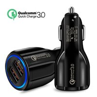 Wholesale car online - Top Quality QC A Turbo Dual USB Car Charger QC3 Mobile Phone Charger Cradle Design