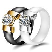 diamante de anel simples venda por atacado-2019 new arrival Solitaire Anel para as mulheres dos homens alérgicos livre Anel de cerâmica diamante jóias preto branco simples anel