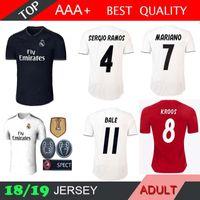 jerseys de fútbol xxxl al por mayor-2018 Real Madrid Jersey Benzema MARIANO ASENSIO fútbol Fútbol Modric Kroos Sergio Ramos Bale Marcelo 18 19 Liga de Campeones 3ra camisetas rojas