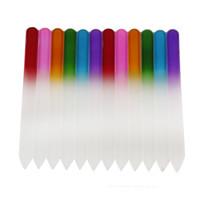 инструменты пилочки для ногтей оптовых-Цветные стеклянные пилки для ногтей Прочный хрустальный пилочка для ногтей Буфер NailCare Nail Art Инструмент для маникюра УФ лак для инструмента