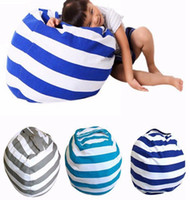 Wholesale kid beds storage online - Kids Soft Cotton Storage Pouch Stuffed Animal Toy Bean Bags Stripe Fabric Chairs Tatami Leisure Bag Colors DDA98