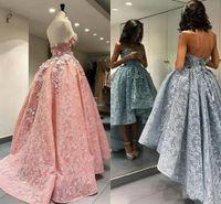 black girl homecoming dresses toptan satış-2018 Yüksek Düşük Parti Balo Elbise Sevgiliye Çiçek Aplike Tam Dantel Bir Çizgi Siyah Kız Afrika Arapça Örgün Abiye Homecoming Giymek