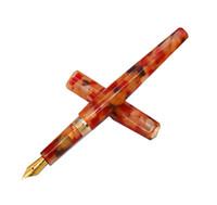 ingrosso fiori di fontana-Fuliwen penna stilografica in celluloide Rhombus Bellissimo fiore arancione, pennino medio dorato Iridium Business Office Materiale scolastico a casa