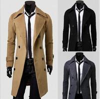 ingrosso cappotto di colore grigio-Uomini popolari Cappotto Tre colori Nero Khaki Grigio Abbigliamento da uomo antivento Designer Cappotto giacca monopetto in cashmere moda inverno