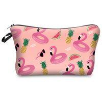 çanta çantası baskısı toptan satış-3D Flamingo Ananas Baskı Kadınlar Makyaj Çantası Karikatür Hayvanlar Kadın Debriyaj Çanta Gün Manşonlar Vaka Organizatör Seyahat için